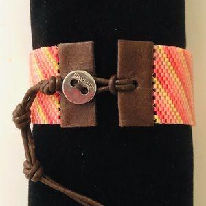 Chan Luu Diagonal Stripe Beaded Neon Bracelet
